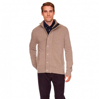 Cárdigan Patch Zip Through Liso Lambswool